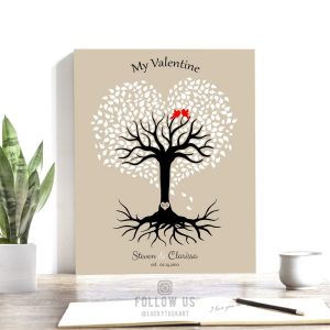 10th Year Anniversary, Valentine Gift, Personalized Gift, Heart Shaped Tree, 10 Year Anniversary – Custom Metal, Canvas or Paper Print #1816