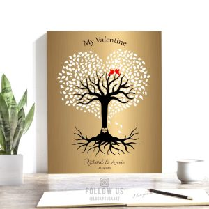 8 Year Anniversary, Valentine, Brass Anniversary, Personalized, Heart Shaped Tree, 8th Anniversary Custom Metal, Canvas or Paper Print 1817