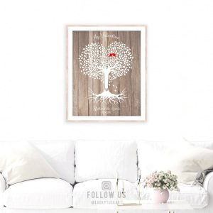 5 Year Anniversary, Valentine, Wood Anniversary, Personalized, Heart Shaped Tree, 6th Anniversary, Custom Metal, Canvas or Paper Print #1818