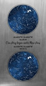 Custom Art Proof Night Sky Star Map for Calrey C.