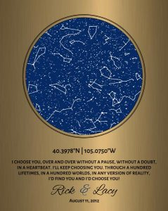 Custom Art Proof Night Sky Star Map for Rick S.