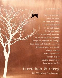 Personalized 7 Year Anniversary Gift Custom Art Proof for Gretchen and Greg M.