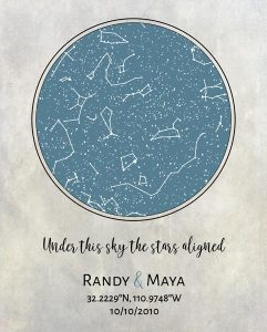 Custom Art Proof Night Sky Star Map for Randy K.