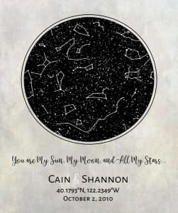 Custom Art Proof Night Sky Star Map for Shannon W.