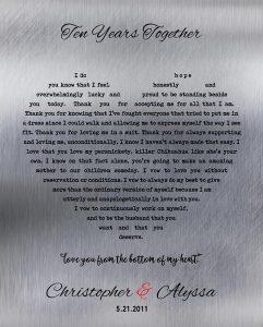 Custom 10 Year Anniversary Gift Art Proof for Alyssa L.